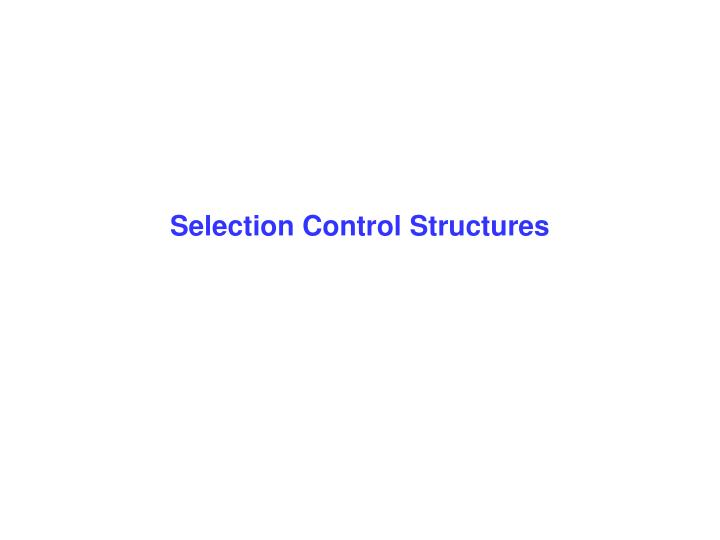 selection control structures n.