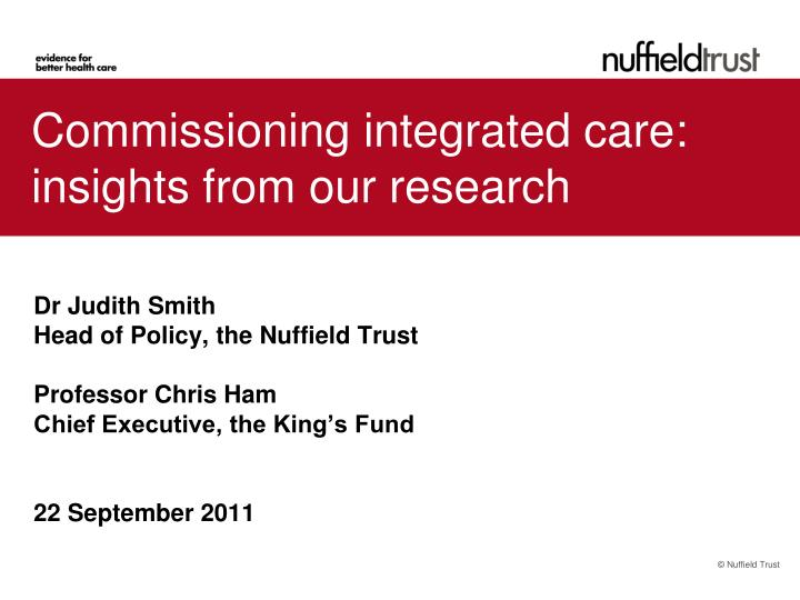 commissioning integrated care insights from our research