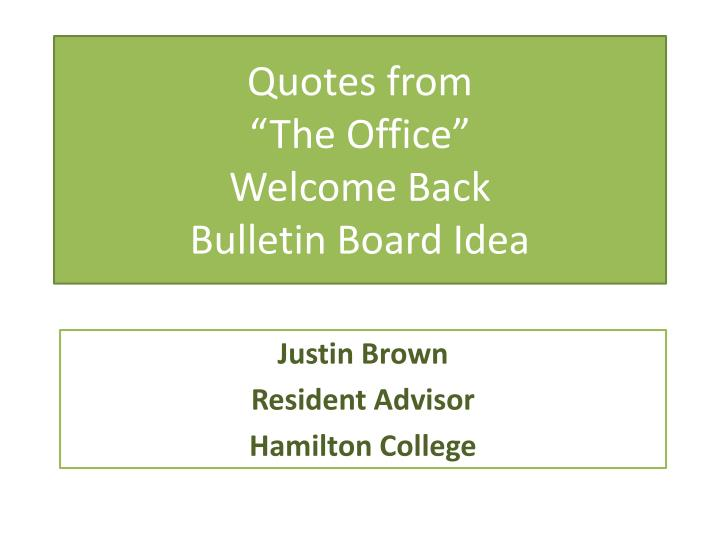 quotes from the office welcome back bulletin board idea n.