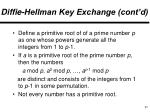 diffie hellman key exchange cont d1