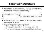 secret key signatures