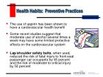health habits preventive practices