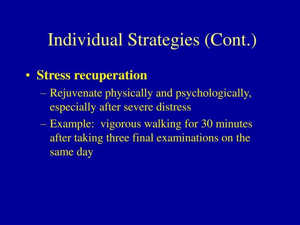 Individual Strategies (Cont.)