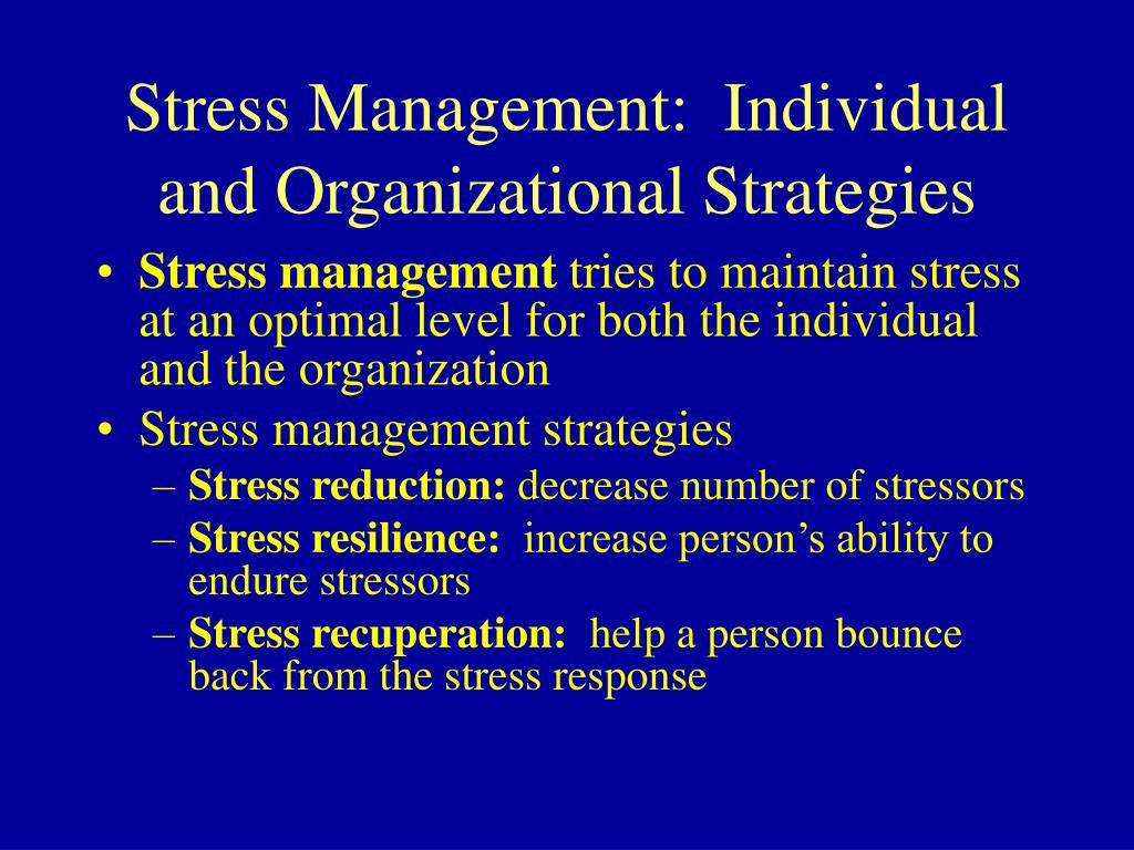 Stress Management:  Individual and Organizational Strategies