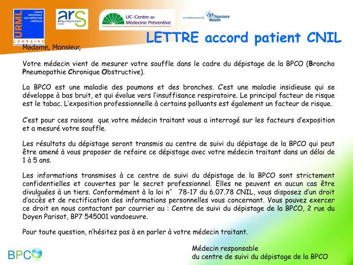 LETTRE accord patient CNIL