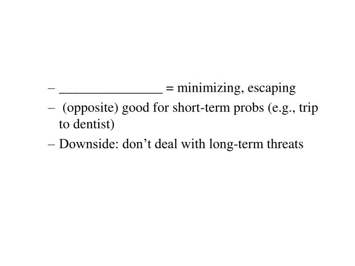 _______________ = minimizing, escaping