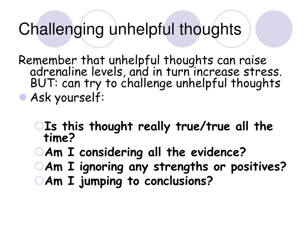 Challenging unhelpful thoughts