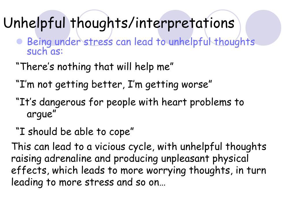 Unhelpful thoughts/interpretations