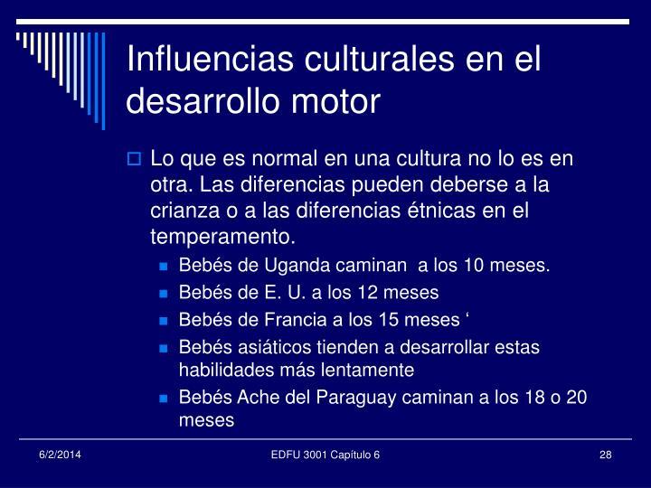 Influencias culturales en el desarrollo motor