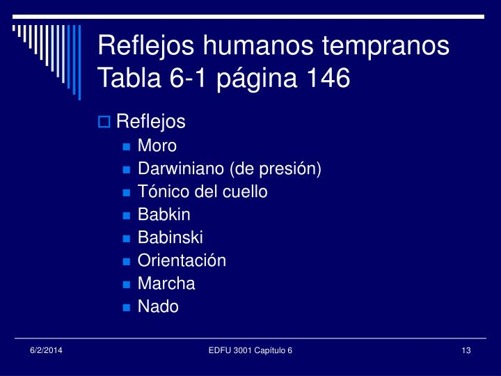 Reflejos humanos tempranos Tabla 6-1 página 146