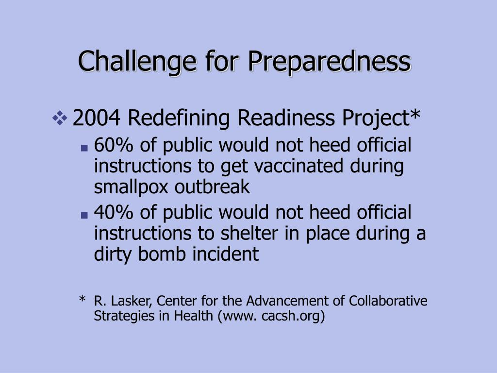 Challenge for Preparedness