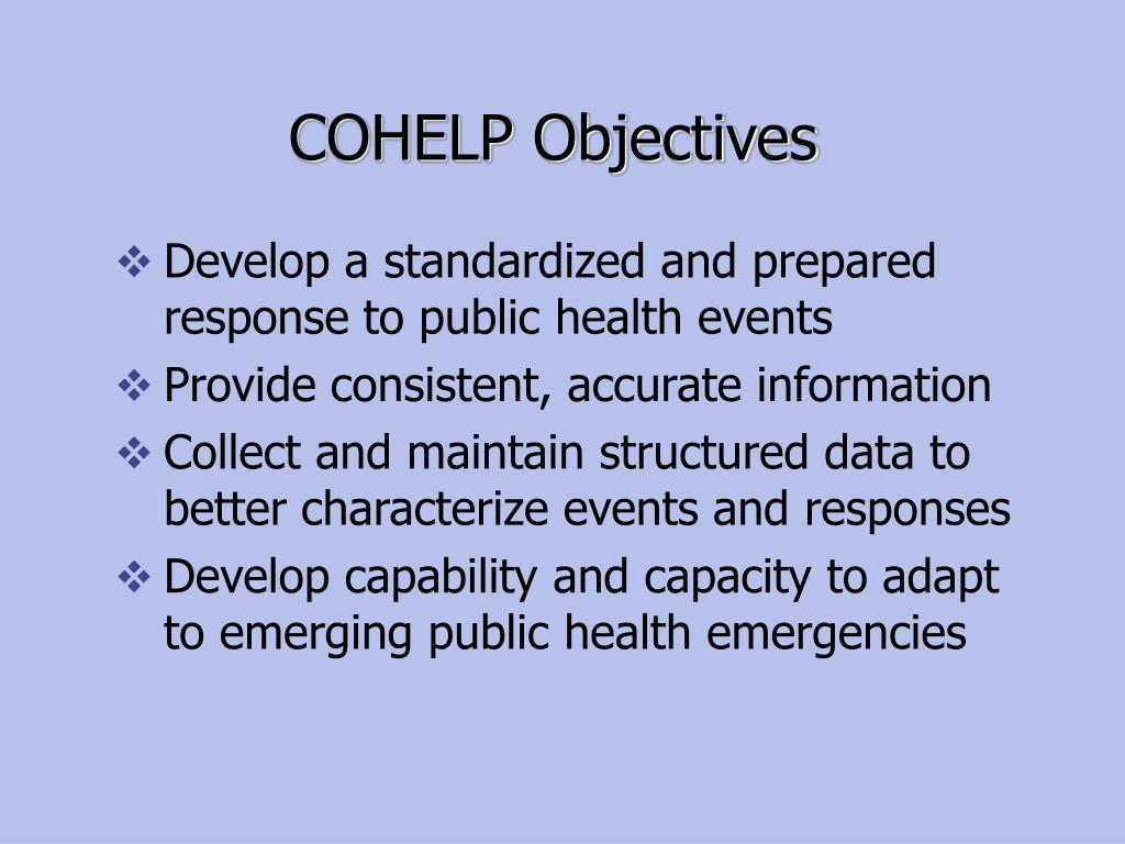 COHELP Objectives