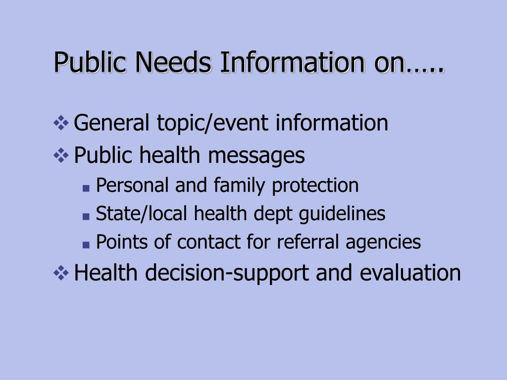 Public Needs Information on…..