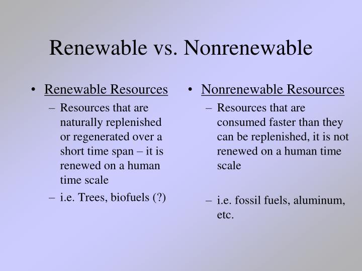 Renewable vs nonrenewable