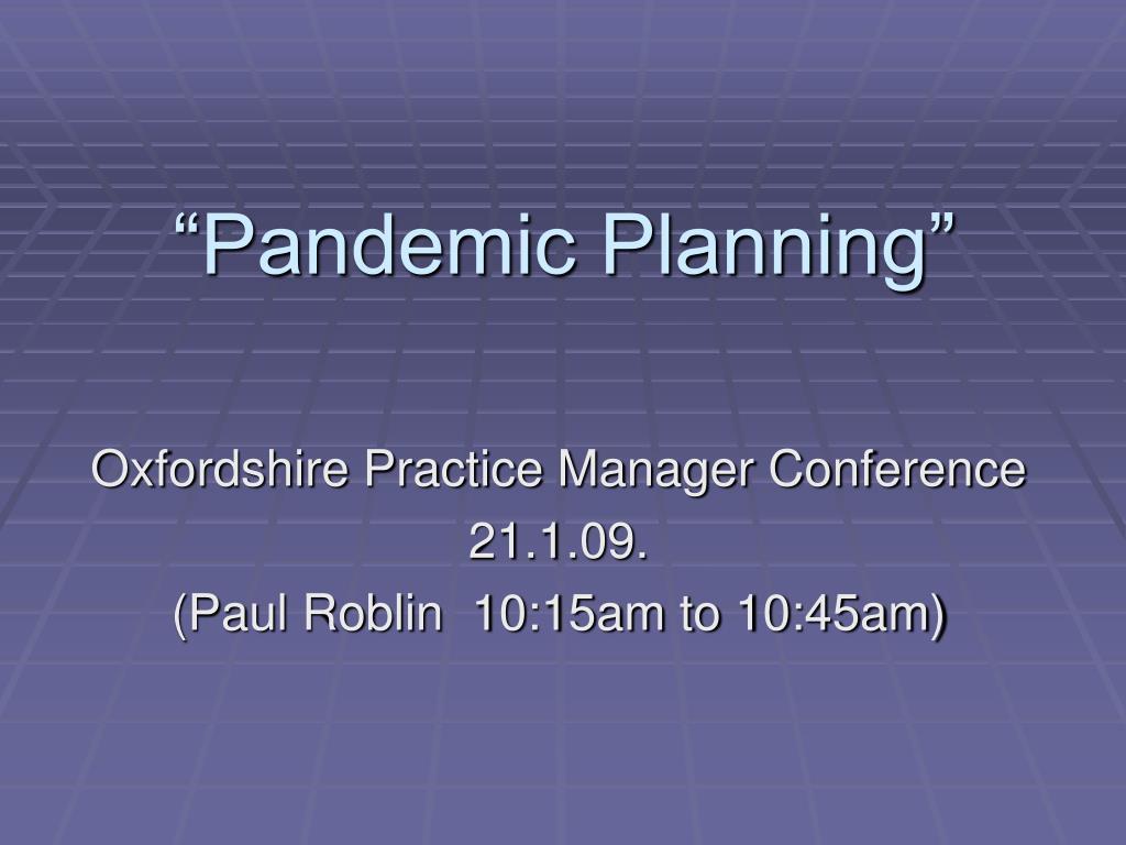 pandemic planning l.