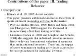 contributions of this paper iii trading behavior