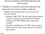 investor sentiment and trading behavior and stock returns
