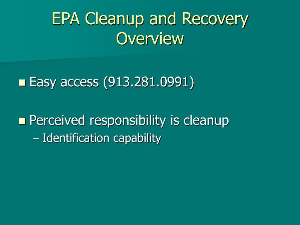 EPA Cleanup and Recovery Overview