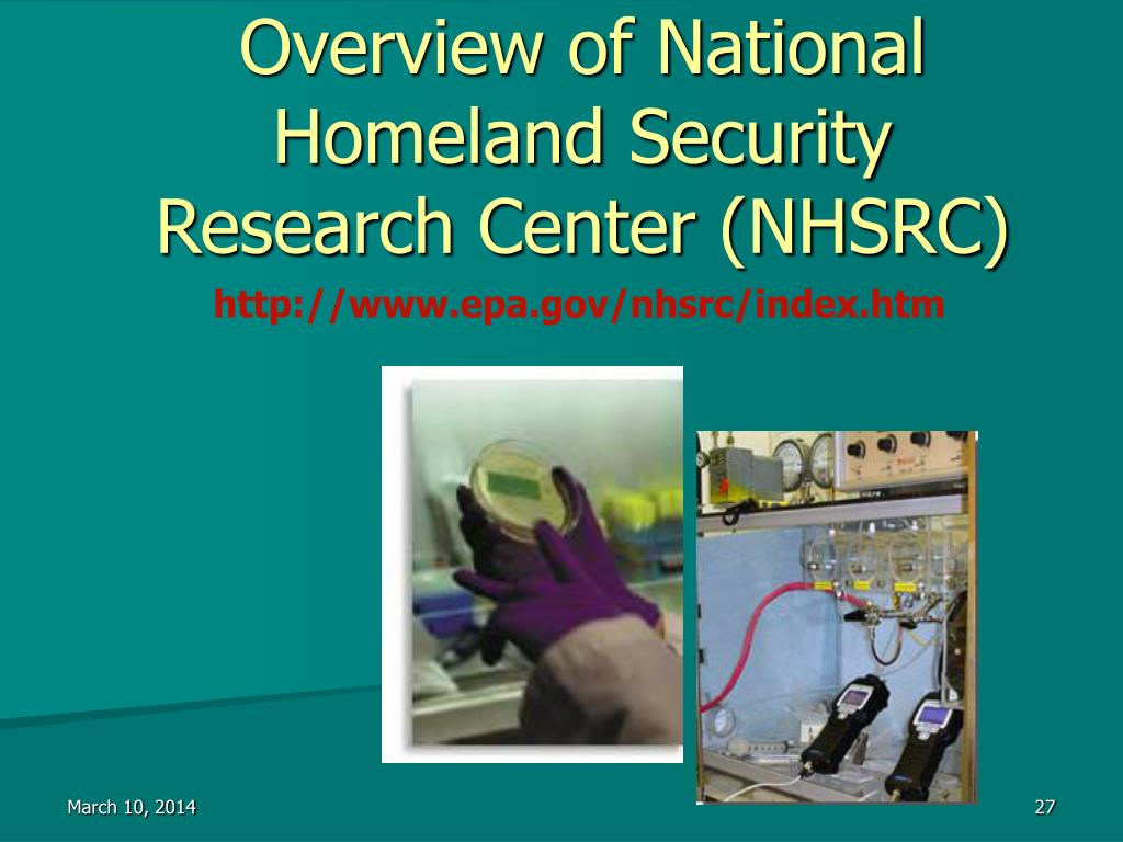 Overview of National Homeland Security Research Center (NHSRC)