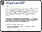 cal state university northridge emergency operations plan