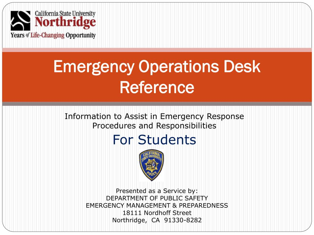 emergency operations desk reference l.