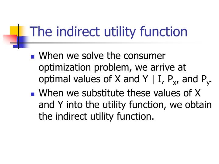 The indirect utility function