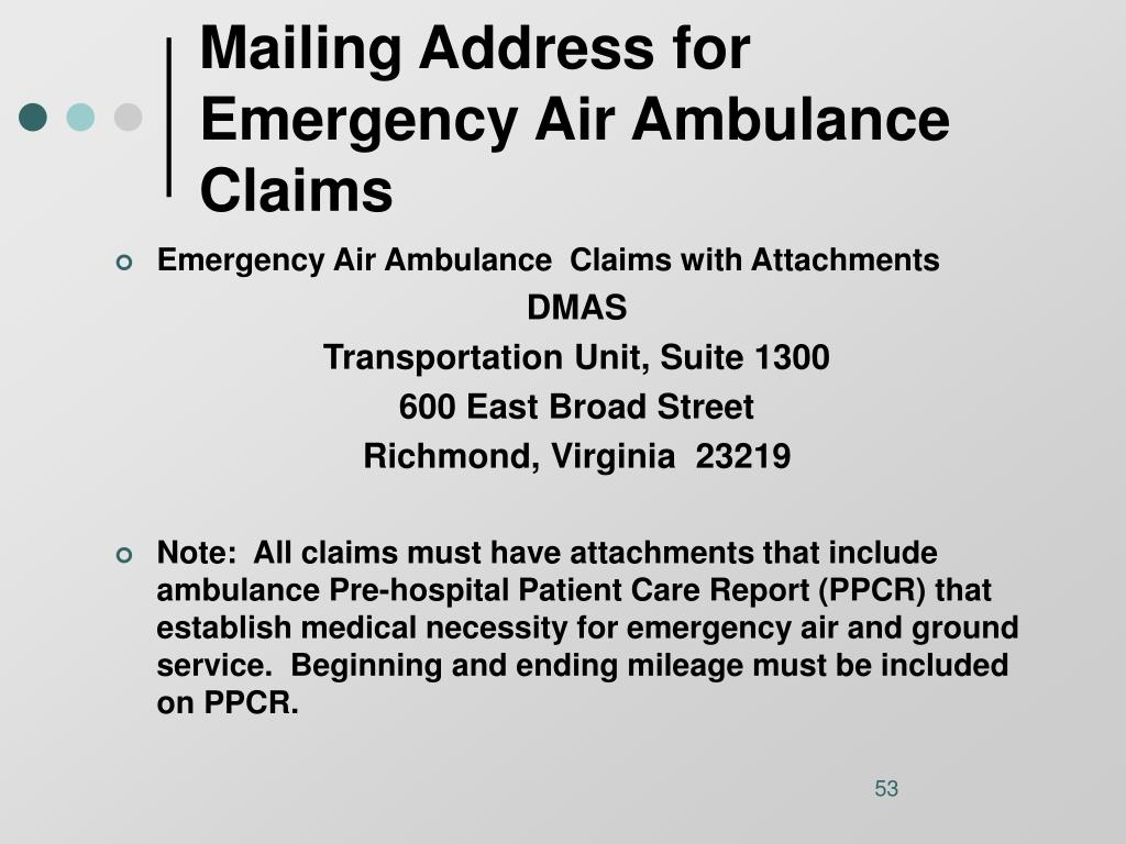 Mailing Address for Emergency Air Ambulance Claims