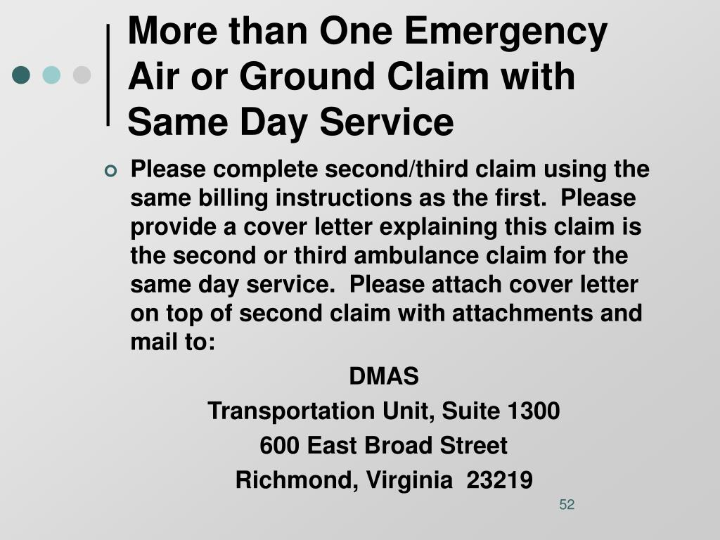 More than One Emergency Air or Ground Claim with Same Day Service