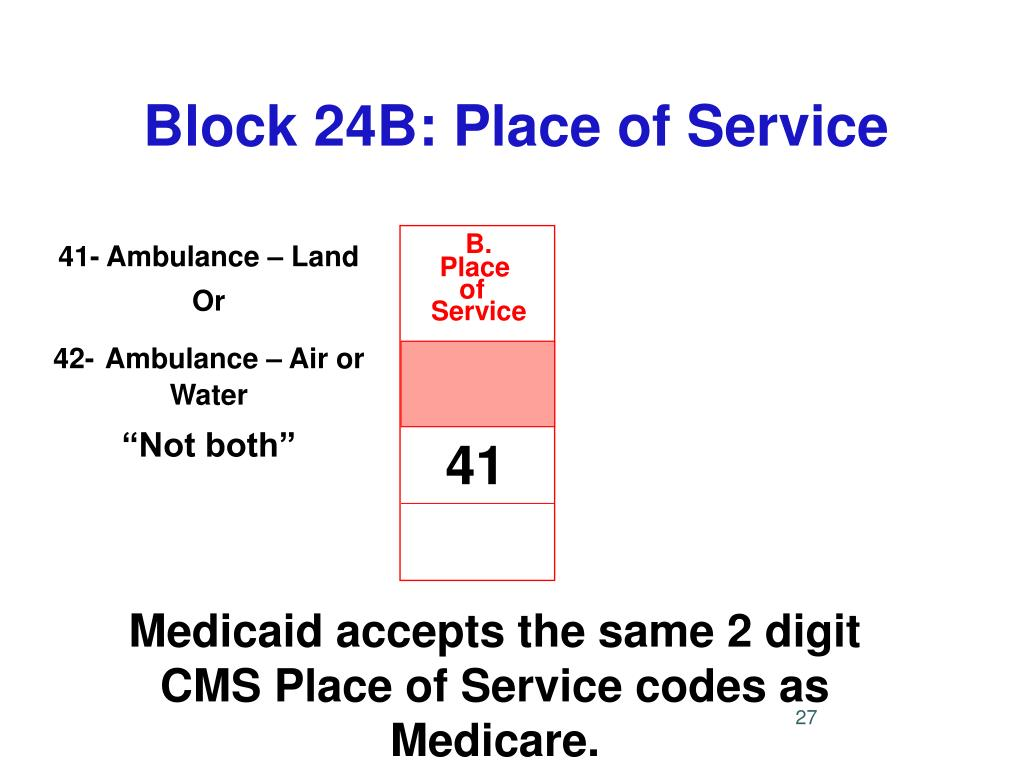 Block 24B: Place of Service