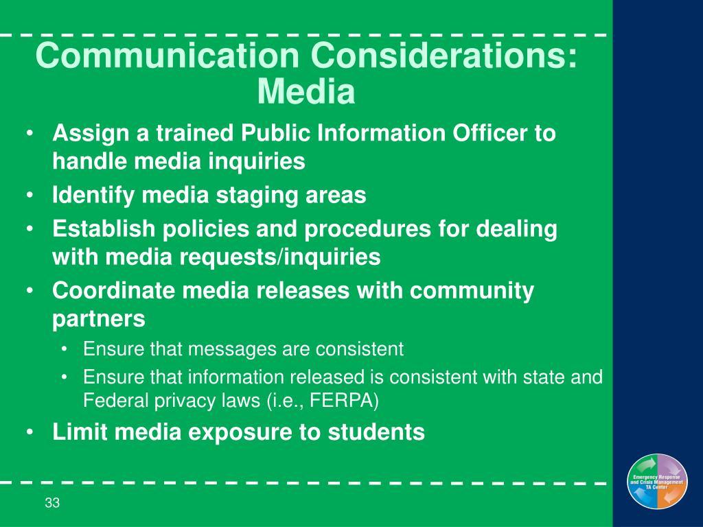 Communication Considerations: Media