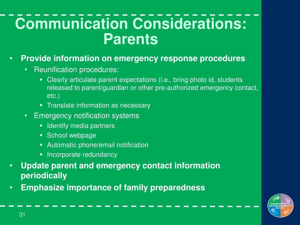 Communication Considerations: Parents