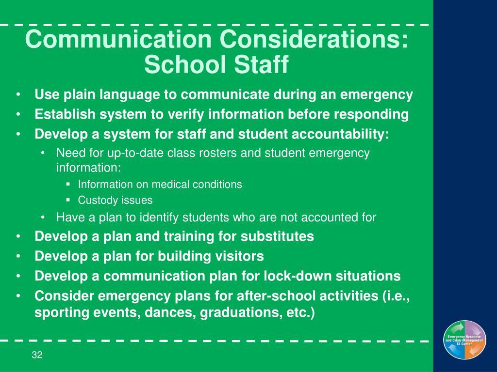 Communication Considerations: