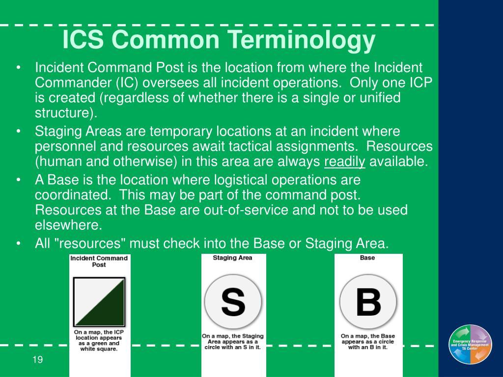 ICS Common Terminology