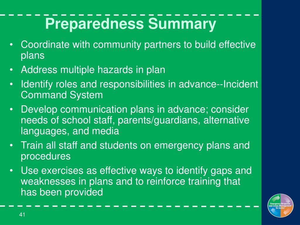 Preparedness Summary