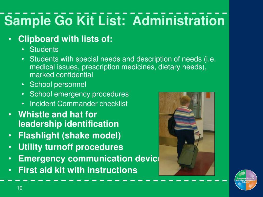 Sample Go Kit List:  Administration