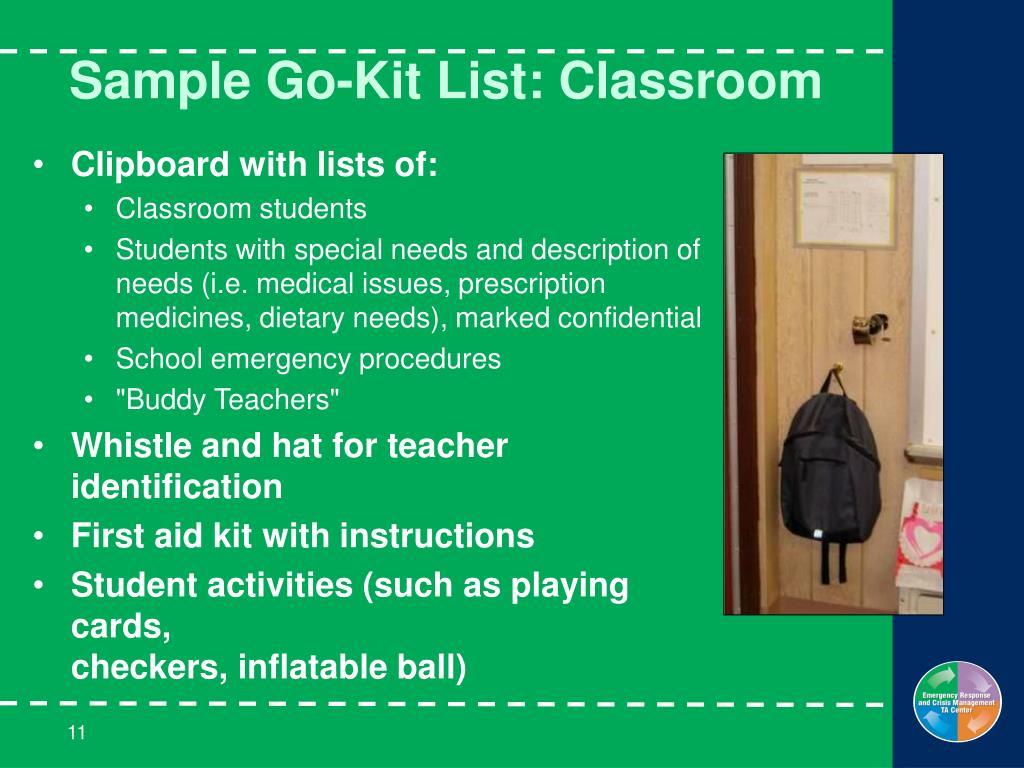 Sample Go-Kit List: Classroom