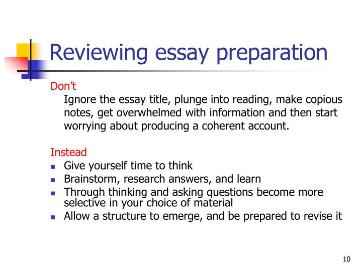 Reviewing essay preparation