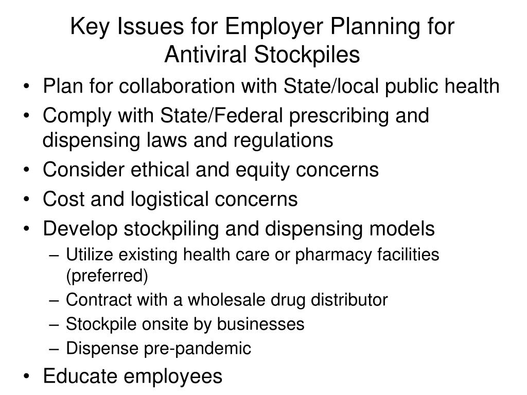 Key Issues for Employer Planning for Antiviral Stockpiles