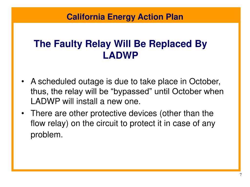 The Faulty Relay Will Be Replaced By LADWP
