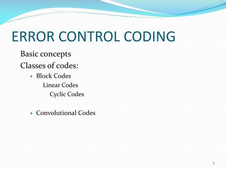 error control coding n.