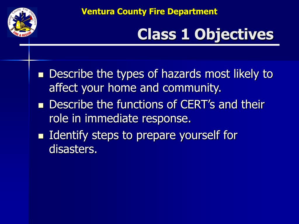 Class 1 Objectives