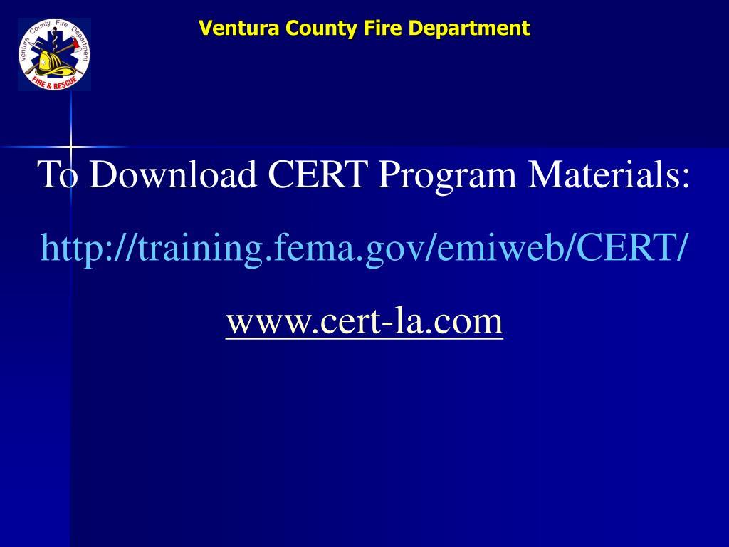 To Download CERT Program Materials: