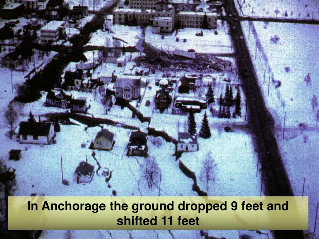 In Anchorage the ground dropped 9 feet and shifted 11 feet