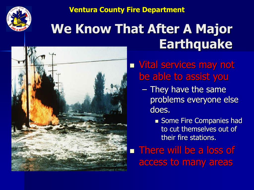 We Know That After A Major Earthquake