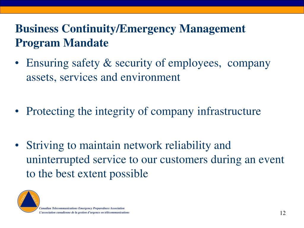 Business Continuity/Emergency Management Program Mandate