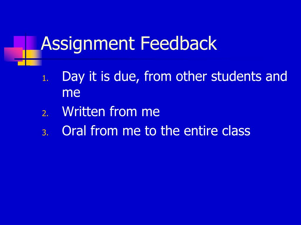 Assignment Feedback