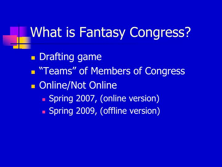 What is fantasy congress