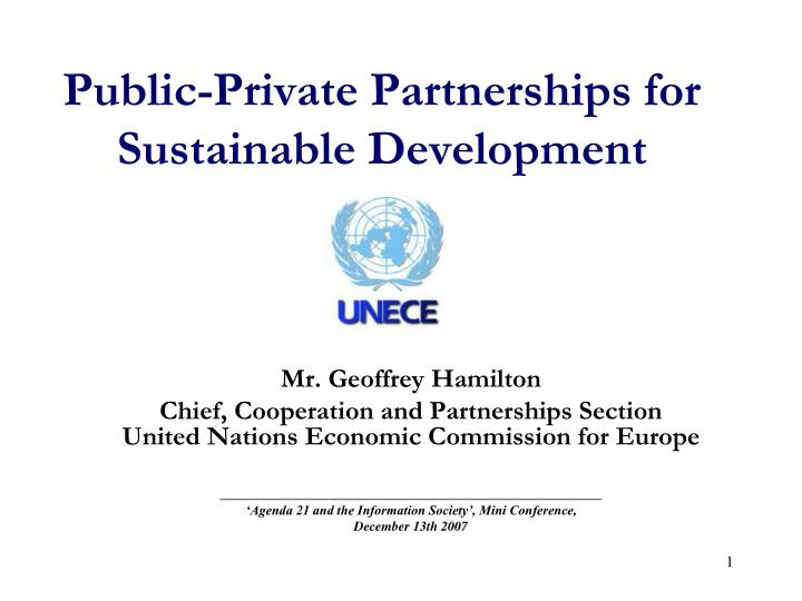 public private partnerships for sustainable development n.