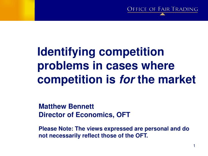 identifying competition problems in cases where competition is for the market n.
