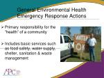 general environmental health emergency response actions